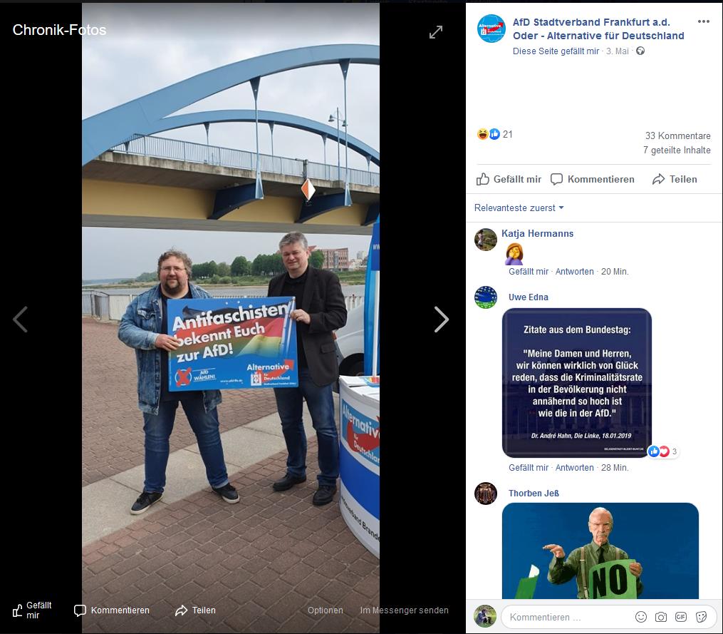 """Posting vom AfD Stadtverband Frankfurt a.d. Oder  in Facebook mit dem Inhalt """"Antifaschisten bekennt euch zur AFD"""""""